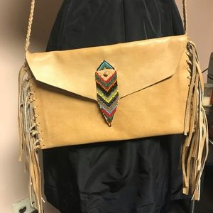 Leather and beaded African made leather bag